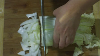 chopping Napa Cabbage