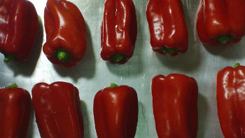 Red Bell Peppers on a Sheet Pan