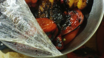 how to steam skins off of roasted bell peppers